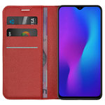 Leather Wallet Case & Card Holder Pouch for Oppo R17 - Red